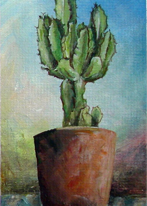 Flower Greeting Card featuring the painting Cactus 3 by Muriel Dolemieux