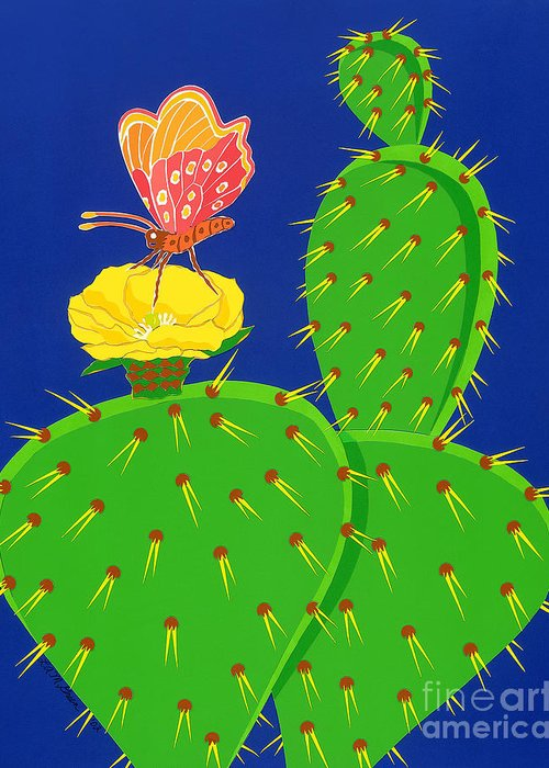 Nature Greeting Card featuring the drawing Cactus And Butterfly by Lucyna A M Green