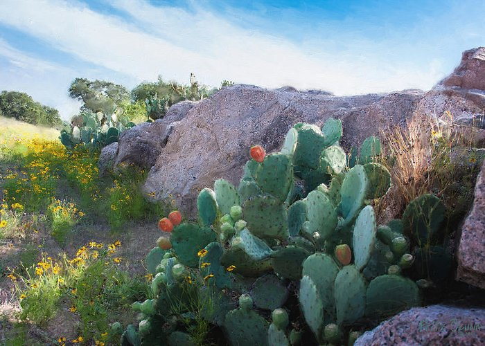 Cactus Greeting Card featuring the painting Cactus And Granite  9234 by Fritz Ozuna
