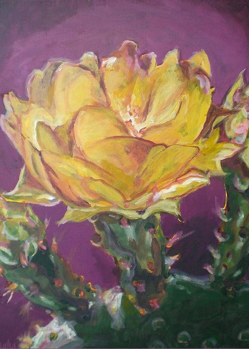 Cactus Greeting Card featuring the painting Cactus Blossom On Purple Background by Aleksandra Buha