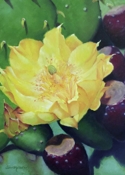 Floral Greeting Card featuring the painting Cactus Rose by Teri Rosario