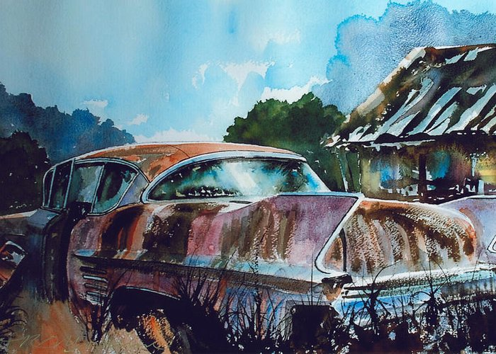 Caddy Greeting Card featuring the painting Caddy Subsiding by Ron Morrison