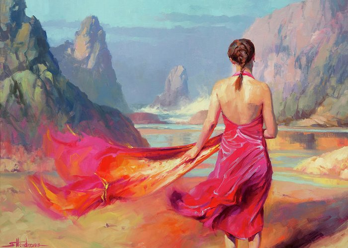 Coast Greeting Card featuring the painting Cadence by Steve Henderson