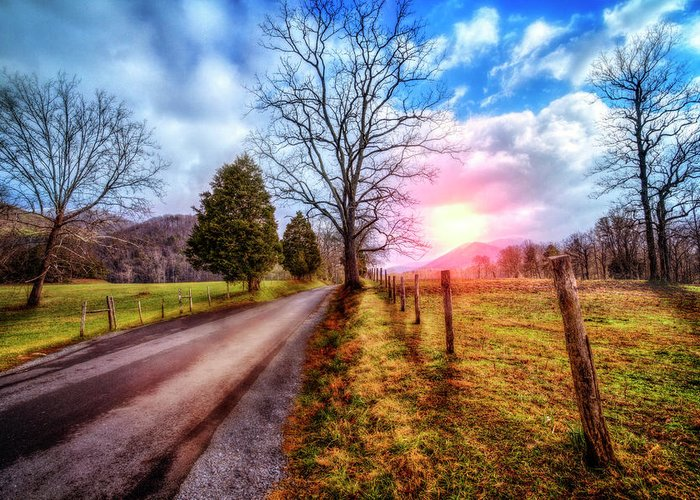 Appalachia Greeting Card featuring the photograph Cades Country Lane by Debra and Dave Vanderlaan