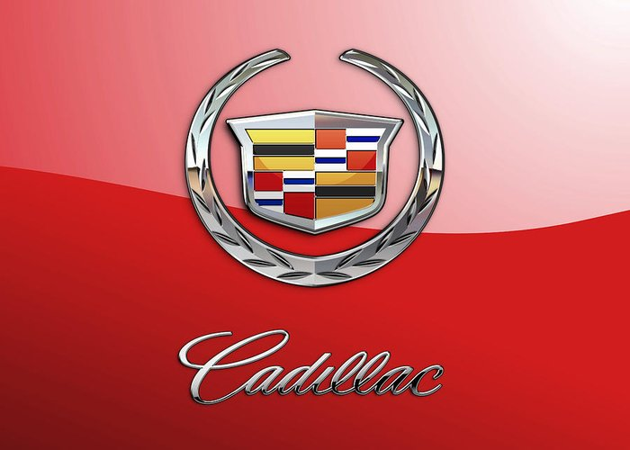�wheels Of Fortune� Collection By Serge Averbukh Greeting Card featuring the photograph Cadillac - 3 D Badge on Red by Serge Averbukh