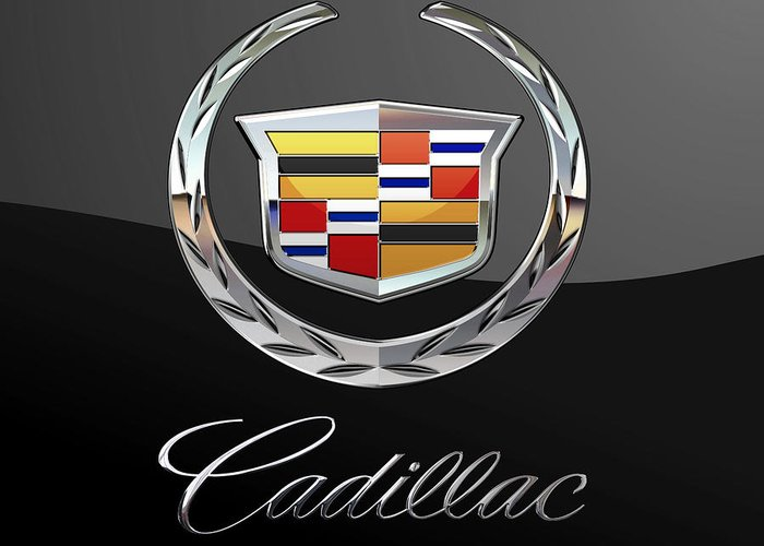 'wheels Of Fortune' By Serge Averbukh Greeting Card featuring the photograph Cadillac - 3 D Badge On Black by Serge Averbukh