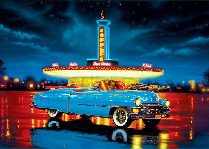 Car Greeting Card featuring the photograph Cadillac Diner by MGL Studio - Chris Hiett