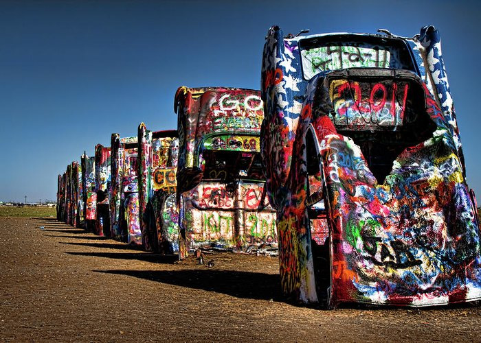 Amarillo Greeting Card featuring the photograph Cadillac Ranch by Lana Trussell