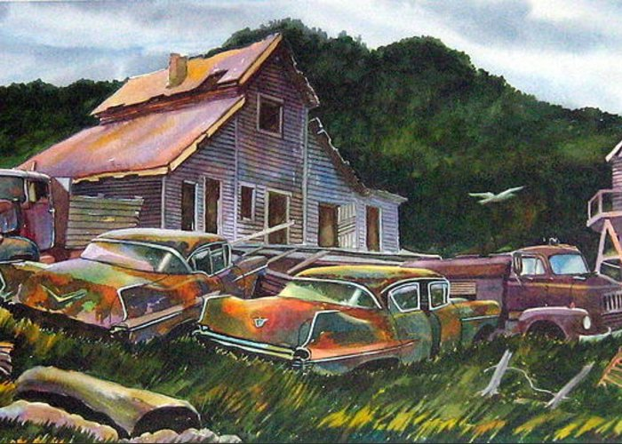Cadillacs Greeting Card featuring the painting Cadillac Ranch by Ron Morrison