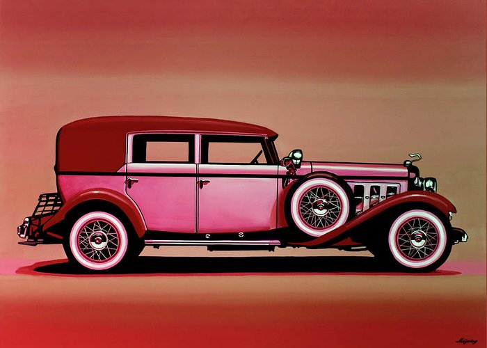American Automobiles Mixed Media Greeting Cards