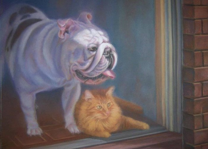 English Bulldogs Greeting Card featuring the painting Caesar and Lily by Diane Caudle