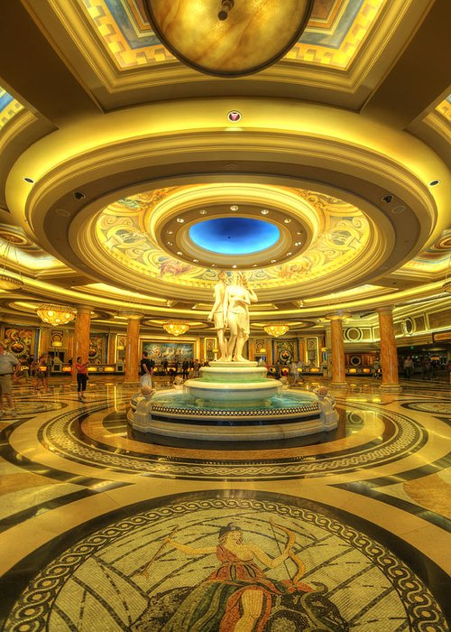 Art Greeting Card featuring the photograph Caesar's Grand Lobby by Yhun Suarez