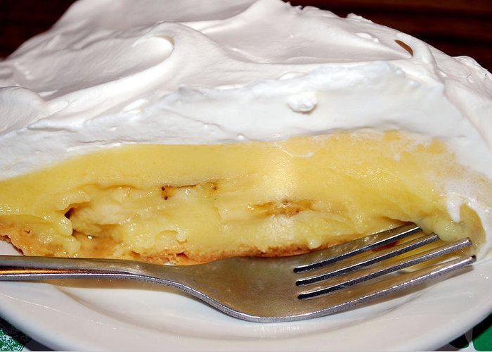 Food Greeting Card featuring the photograph Cafe Art Series - Napoleon Cafe's Banana Creme Pie by Michelle BarlondSmith