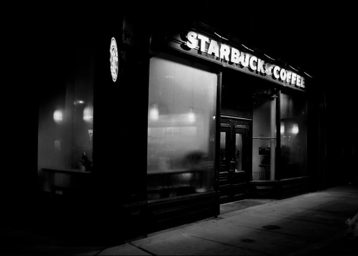 Starbucks Greeting Card featuring the photograph Cafe At Night by Andrew Fare