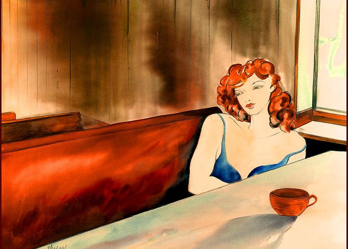 Female Greeting Card featuring the painting Cafe Au Lait by Leslie Marcus
