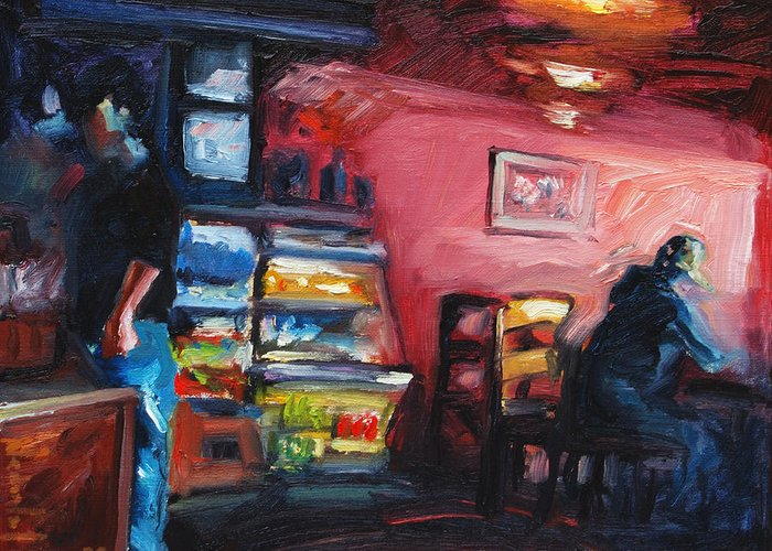Cafe Greeting Card featuring the painting Cafe Boulange by Rick Nederlof