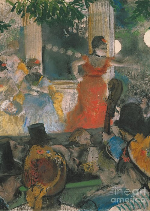 Cafe Greeting Card featuring the pastel Cafe Concert At Les Ambassadeurs by Edgar Degas