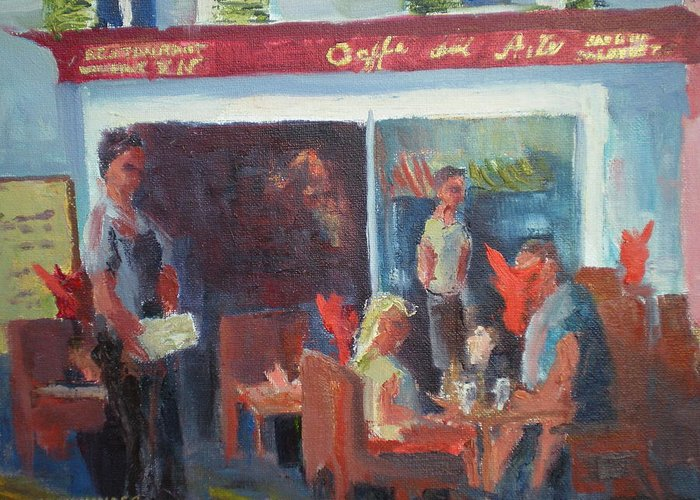 French Cafe Greeting Card featuring the painting Cafe Dell Arte by Bryan Alexander