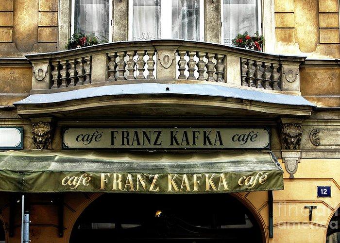 Cafe Franz Kafka Greeting Card featuring the photograph Cafe Franz Kafka by John Rizzuto