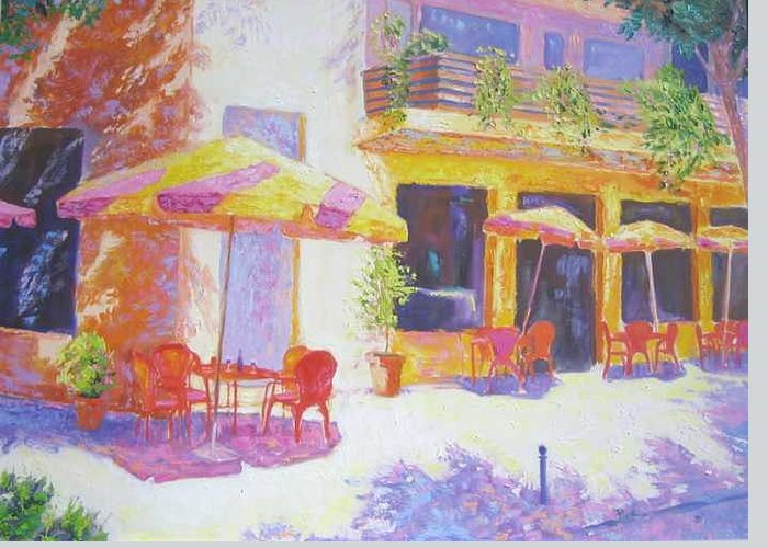 Oil Greeting Card featuring the painting Cafe In Spain by Pixie Glore