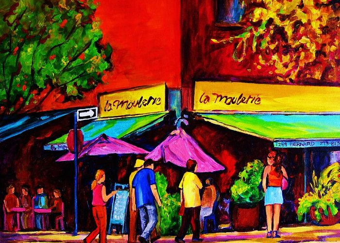 Cafe Scenes Greeting Card featuring the painting Cafe La Moulerie On Bernard by Carole Spandau