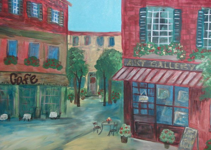 Cafe Greeting Card featuring the painting Cafe Life by Shiana Canatella