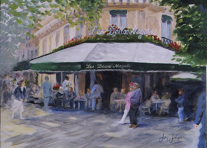 Cafe Magots Greeting Card featuring the painting Cafe Magots by Jay Johnson
