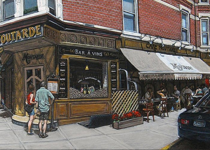 Brooklyn Greeting Card featuring the painting Cafe Moutarde by Ted Papoulas