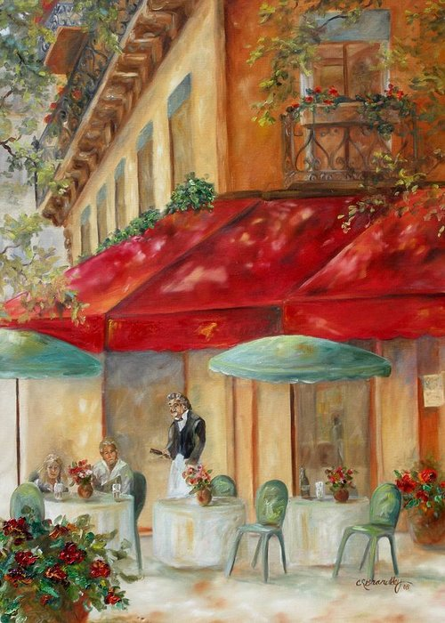 Paris Greeting Card featuring the painting Cafe' Paris by Chris Brandley