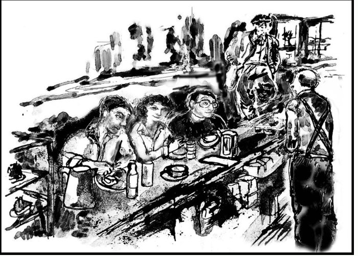 Cafe Greeting Card featuring the digital art Cafe Scene by Lily Hymen
