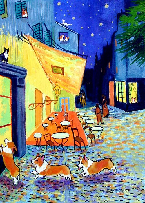 Pembroke Welsh Corgi Greeting Card featuring the painting Cafe Terrace At Night - After Van Gogh With Corgis by Lyn Cook