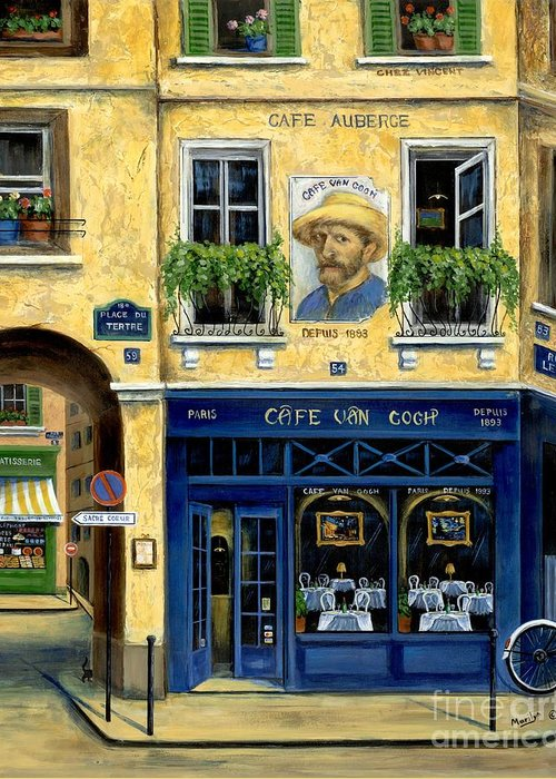 Europe Greeting Card featuring the painting Cafe Van Gogh by Marilyn Dunlap