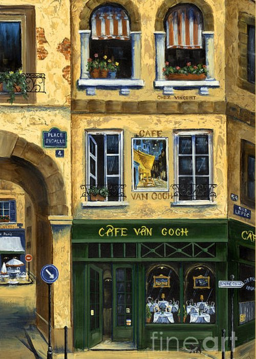 Europe Greeting Card featuring the painting Cafe Van Gogh Paris by Marilyn Dunlap
