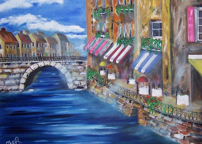Landscape Greeting Card featuring the painting Cafe Walk by Penny Everhart