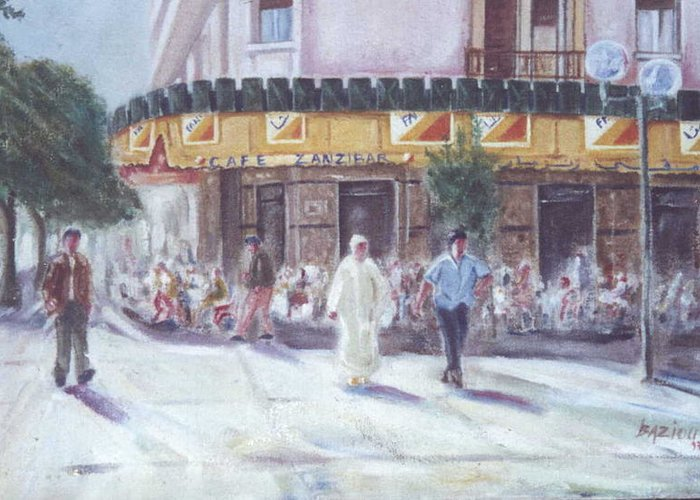 Landscape Greeting Card featuring the painting Cafe Zanzibar. Fez by Karim Baziou