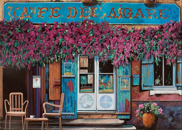 Caffe' Greeting Card featuring the painting caffe del Aigare by Guido Borelli