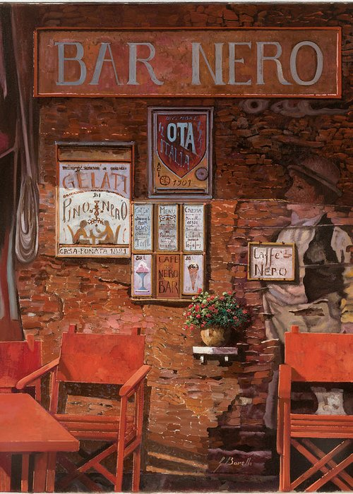 Caffe' Greeting Card featuring the painting caffe Nero by Guido Borelli