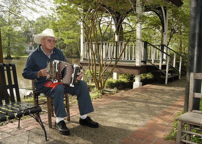 Accordion Greeting Card featuring the photograph Cajun Man And Accordion by Robert Ponzoni