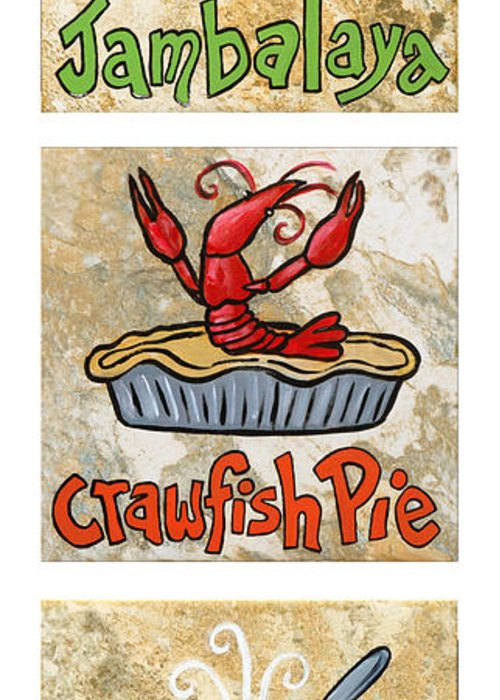 Jambalaya Greeting Card featuring the painting Cajun Trio White by Elaine Hodges