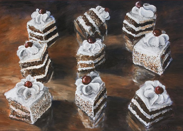 Cake Greeting Card featuring the painting Cake by Nik Helbig