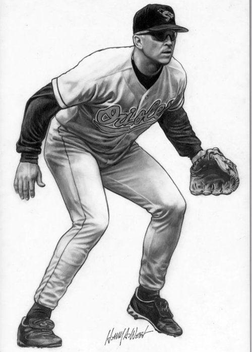 Cal Ripken Greeting Card featuring the drawing Cal Ripken by Harry West