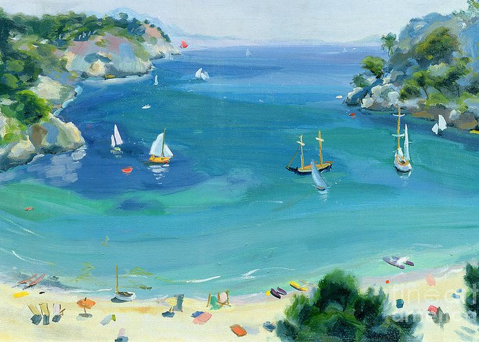Landscape; Beach Scene; Sailing Boat; Idyllic; Deck-chair; Inlet; Bay; Balearic Islands; Mediterranean; Spanish; Menorca; Holiday; Vacation; Balearic Islands; Mediterranean; Holidays; Happy; Minorca Greeting Card featuring the painting Cala Galdana - Minorca by Anne Durham
