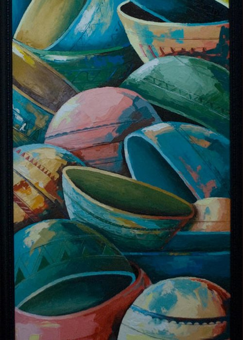 Greeting Card featuring the painting Calabash by Alfred Awonuga