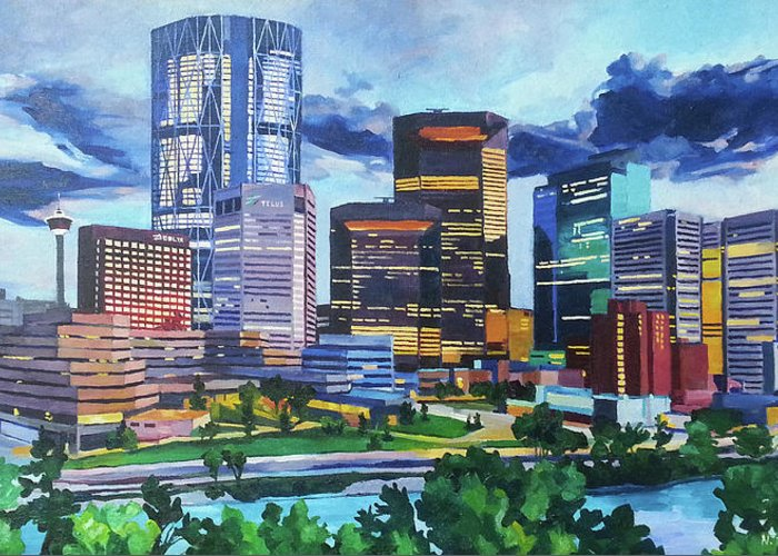 Calgary Greeting Card featuring the painting Calgary Downtown Evening by Nel Kwiatkowska