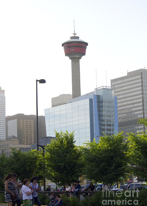 Portrait Greeting Card featuring the photograph Calgary Tower View 2 by Donna Munro