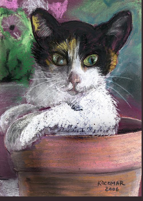 Calico Cat Greeting Card featuring the pastel Cali by Olga Kaczmar
