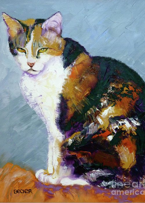 Cat Greeting Card featuring the painting Calico Buddy by Susan A Becker