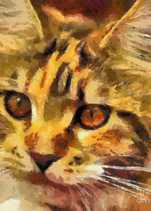 Animal Greeting Card featuring the painting Calico Cat by Dragica Micki Fortuna