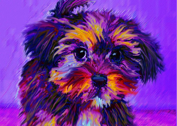 Dog Greeting Card featuring the digital art Calico Dog by Jane Schnetlage
