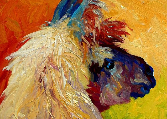 Llama Greeting Card featuring the painting Calico Llama by Marion Rose